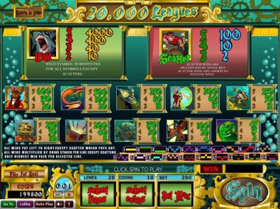 Info - 20 000 Leagues Wizard Gaming 5 Reel/20 Line