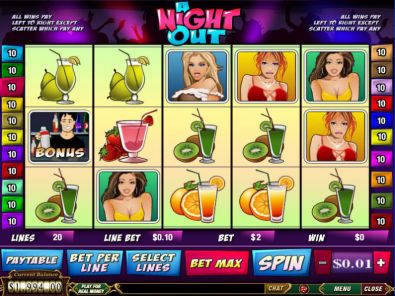 Slot Reels - A Night Out PlayTech 5 Reel/20 Line