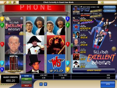 Slot Reels - Bill and Ted's Excellent Adventure Microgaming 3 Reel/5 Line