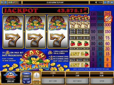 Slot Reels - Cash Splash Microgaming 3 Reel/1 Line
