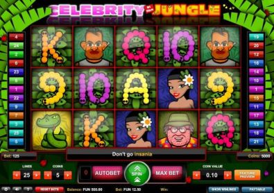 Slot Reels - Celebrity in the Jungle 1x2 Gaming 5 Reel/25 Line
