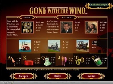 Info - Gone With The Wind bwin.party 5 Reel/20 Line