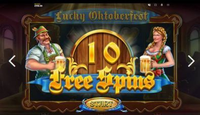 Bonus 1, Free Spins Feature - Lucky Oktoberfest Red Tiger Gaming 5 Reel/10 Line