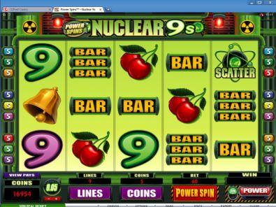 Slot Reels - Power Spins - Nuclear 9's Microgaming 5 Reel/9 Line